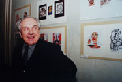 Alexander Zinoviev at exhibition of his caricatures in Fitil gallery in 2003