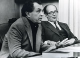 Alexander Zinoviev at press conference in Munich University in 1978, with Prof.Dr.Nicolaus Lobkowicz